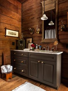 The buyers of a Save This Old House-featured home went for a rustic, masculine look in their master bath. Check it out here. | Photo: Deborah Whitlaw Llewellyn