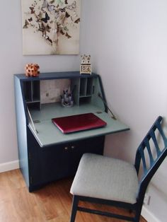 Writing Bureau Desk, upcycled in Aubusson and Duck Egg Blue, Shabby Chic
