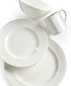 These pretty plates would encourage you to only fill the center rather than the whole plate to the edge;  kate spade new york Wickford 4 Piece Place Setting