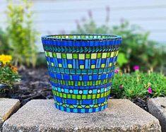 Mosaic Planters, Mosaic Vase, Mosaic Tile Art, Mosaic Flower Pots, Mosaic Artwork, Mosaic Garden, Terra Cotta, Durham, Blue And Green