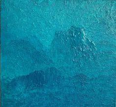 """""""Bak blånende fjell"""" Akryl på tykt lerret (m/ struktur) - 40 x 40 cm (bildet går i petrolblå-nyanser)"""