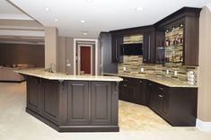 Stocked basement wet bar