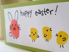 Kaniner och kycklingar - enkla ritningar gör söta påskkort!  Sarahndipities ~ fortunate handmade finds: Things to Make: Fingerprint Bunnies and Chicks!!!!