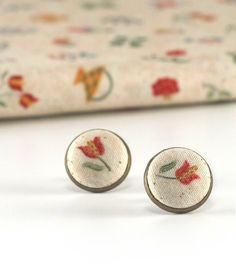 Red Tulips Earring Studs - From My Baltimore Album - Stud Earrings - Yellow and Green Flowers on Beige Fabric Buttons Jewelry Antique Posts