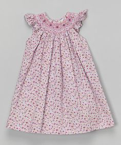 Love this Purple Floral Smocked Angel-Sleeve Dress - Infant by Petit Pomme on #zulily! #zulilyfinds