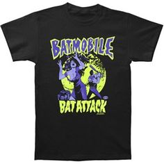 Bat Attack Logo With Cartoon Girl With Dress Falling Off Running & Guy With Bat In The Moonlight With Flying Bats Art Psychobilly, Batmobile, Girl Cartoon, Artists, Mens Tops, T Shirt, Fashion, Shopping, Moda