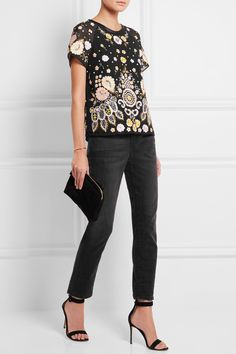NEEDLE & THREAD Embellished embroidered crepe top  $300.00 https://www.net-a-porter.com/product/674248