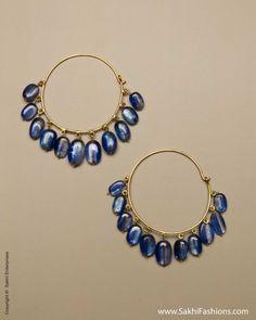 Gold, Blue Earring, Bali, Hoop | Sakhi Fashions