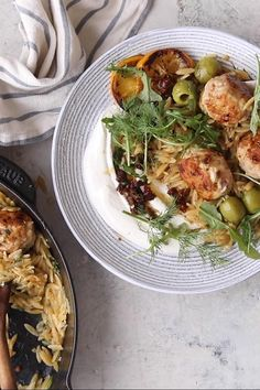 One Skillet Greek Meatballs and Lemon Butter Orzo with lemony whipped feta and sun-dried tomato vinaigrette.simple, hearty, and delicious! Greek Meatballs, Chicken Meatballs, Greek Dinners, Whipped Feta, Gnocchi Recipes, Half Baked Harvest, Lemon Butter, Greek Recipes, Sun Dried