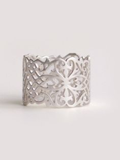 """Laser cut ring. Measures approx 5/8"""" wide, size 7. Shown in black rhodium plated sterling silver.love this designer  Marion Cage"""