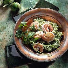 Naturally mild shrimp and rice are injected with Mexican flavor, both in the shrimp's cooking broth and the rice's pureed pepper sauce.