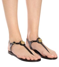 The Lito Coin silhouette from Ancient Greek Sandals plays testament to the fact that, sometimes, less is more. Working sleek and slender leather straps in wear-with-anything black, the minimalist T-bar style will . Suede Sandals, Black Sandals, Shearling Slippers, Gold Plated Bracelets, Ancient Greek Sandals, Jelly Sandals, Metallic Leather, Alternative Fashion, Tory Burch