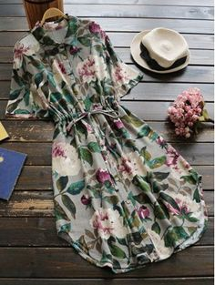 Button Up Floral Drawstring Waist Linen Dress - Green