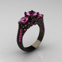 Classic 14K Black Gold Three Stone Pink Sapphire Solitaire Ring