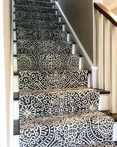 One of our favorite Dash & Albert applications. We have installed in every color. When you want your stairs to hold their own. Herringbone Rug, Stairway Walls, Pine Cone Decorations, Dash And Albert, Dark Blue Background, Carpet Stairs, Custom Rugs, Geometric Rug, Rug Sale