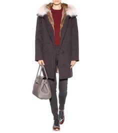 Fur-trimmed black jacket