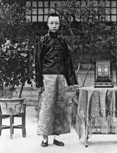 This is Puyi, the last Emperor of China, he led an incredibly interesting life.  From emperor, to political puppet, to prisoner, to gardener, I can't even imagine how much he must have seen.  Watch The Last Emperor for an interesting telling of his life.