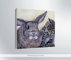 Hey, I found this really awesome Etsy listing at https://www.etsy.com/listing/178867001/cat-and-bunny-painting-miniature-oil