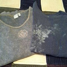 2 plus size tops Both long sleeve. Apt.9 is tie dye light brown and tan with gold accent design, size 1x.  Sonoma top is dark blue with gray flower design, size is 2xl but fits more like a 1x. Both in good condition, no holes or snags Apt. 9 Tops Tees - Long Sleeve