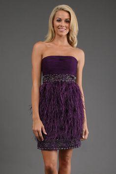 Sue Wong Eggplant Strapless Feather Mini Dress