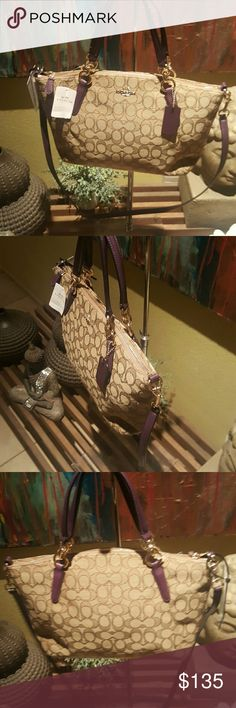 Coach handbag Nwt Coach ladies handbag tan and purple Coach Bags Shoulder Bags