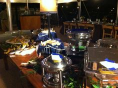 Boathouse Buffet on the North Patio.  The Boathouse is managed by Catering St. Louis.