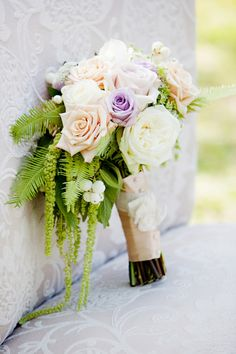 Purple and white bouquet, photo by www.puresugarstudios.com