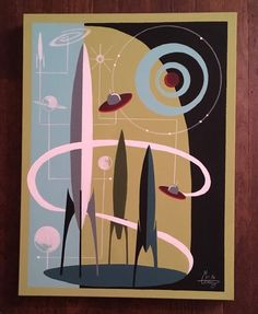 El Gato Gomez Painting Retro 1950's Sci Fi Space Mid Century Modern Abstract | eBay