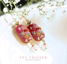 Raspberry Slice. Beautiful hand made polymer clay earrings. Made to order