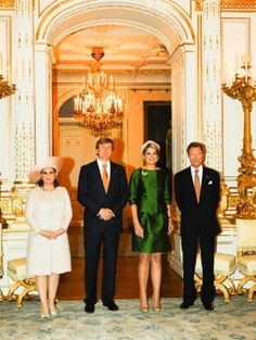 (L-R)  Grand Duchess Maria Teresa, King Willem Alexander, Queen Maxima of Netherlands and Grand Duke Henri of Luxembourg are seen inside the Grand Palace of The Dukes as the King and Queen arrive during the start of their one day visit to Luxembourg on 24 May 2013