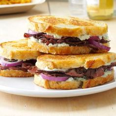 Grilled Beef & Blue Cheese Sandwiches Recipe -Roast beef, red onion and blue cheese really amp up this deluxe grilled sandwich. If you like a little heat, mix some horseradish into the spread. —Bonnie Hawkins, Elkhorn, Wisconsin