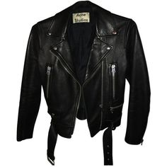 Pre-owned leather jacket (4.035 BRL) ❤ liked on Polyvore featuring outerwear, jackets, leather, tops, black, fitted jacket, acne studios jacket, real leather jackets, genuine leather jackets and fitted leather jacket