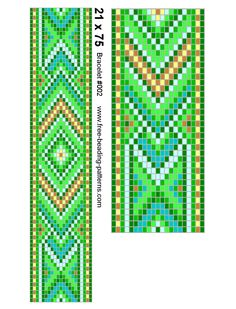 Bead design for Native American beadwork - green bracelet