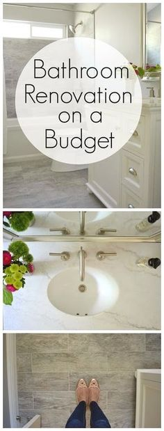 Want to know how to renovate a small bathroom on a budget? I got a clean designer look for less in my bathroom remodel on a budget. See how I did it!  #BathroomRemodeling #smallbathroomrenovations