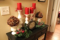 My Christmas Decorating this year!  Entryway Hallway Christmas decorations Candlesticks