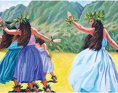 a painting of a hula performance in Hawaii Hawaiian Dancers, Hawaiian Art, Vintage Hawaiian, Polynesian Dance, Polynesian Culture, Nature Sketch, Hula Dancers, Fish Drawings, Folk Dance