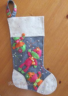 Handmade Felt Sock Monkey Stocking by BEAUXTAILS on Etsy
