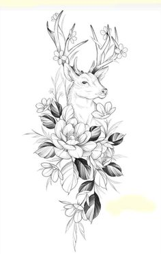 Stag Tattoo Design, Floral Tattoo Design, Tattoo Designs, Art Drawings Sketches, Tattoo Sketches, Animal Drawings, Hip Tattoos Women, Small Girl Tattoos, Henna Tattoo Hand
