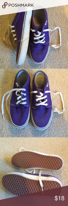 """Van's Off The Wall Sneakers Gently used, but very well taken care of pair of purple Van's sneakers. Women's size 9, men's size 7.5. The purple fabric looks completely brand new, and the rubber bottoms do as well. The only noticeable wear is on the in sole and on the """"Vans"""" label on the heel of the shoe. Vans  Shoes Sneakers"""
