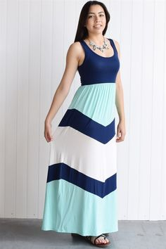 Modal chevron color block maxi dress S to XL Made in USA | Jane