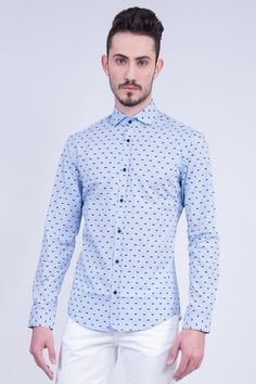 Slim Fit Checked Shirt In Bow Tie Print