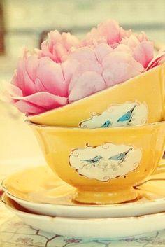 Yellow tea cups