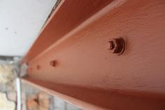 DIY: Exposing a Steel Beam & Fire Protection - Kezzabeth | DIY & Renovation Blog Faux Wood Beams, Steel Beams, Sponge Rollers, Traditional Front Doors, Build A Farmhouse Table, Small Tins, Wood Pallets, Pallet Wood, Industrial Interiors