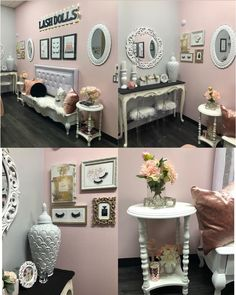 Thank you for the gorgeous glam you added to we love it 💖 Home Beauty Salon, Beauty Salon Decor, Home Salon, Spa Room Decor, Bedroom Decor, Home Decor, Salon Interior Design, Interior Design Living Room, Esthetician Room