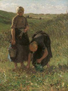 Bernardus Johannes Blommers (Den Haag 1845-1914) Bloemen plukken in de duinen - Kunsthandel Simonis en Buunk, Ede (Nederland).