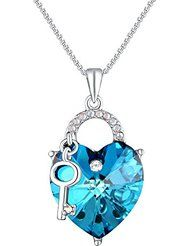 PLATO H Venice Lover Ocean Blue Heart & Key Jewelry Pendant Necklace with Swarovski Crystals
