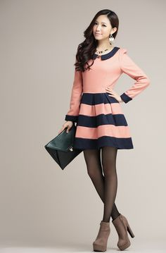 Korean Fashion Hit Color Stripe Woolen Dress. I like very much *_*)