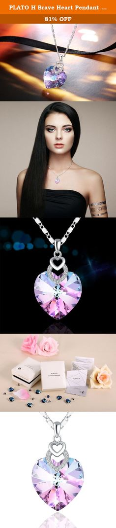 """PLATO H Brave Heart Pendant Necklace with Swarovski Crystal Christmas Gift for Her, Purple 18"""". Product Features - Material: Crystals from Swarovski and rhodium plated alloy - Size: Weight: 0.24 ounces, Height: 0.98 inches, Width: 0.69 inches - Color: Purple Blue - Design: stylish Maintenance Instruction - Due to jewelry's characteristics, it must not be exposed to high mechanical and chemical stress - Light dust can be easily removed with a clean, dry, antistatic cloth. It will come with…"""