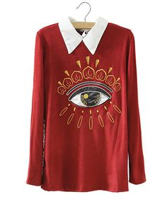Burgundy Collared Jumper With Embroidered Eye Pattern ST0230038-2