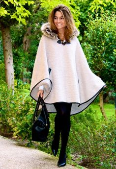 FUR TRIM HOODED CAPE